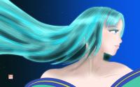 【イラスト】 月下の青行燈