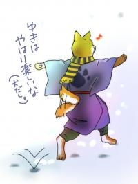 【イラスト】雪ではしゃぐ犬神様